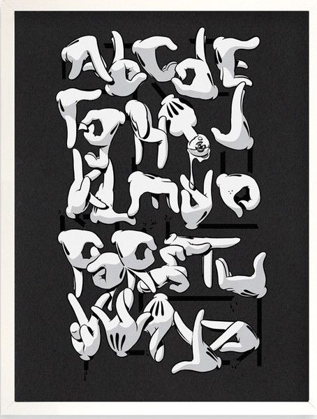 Hand Alphabet (Black Variant) by OG Slick Graffiti Art – YaDiGGiT Posters