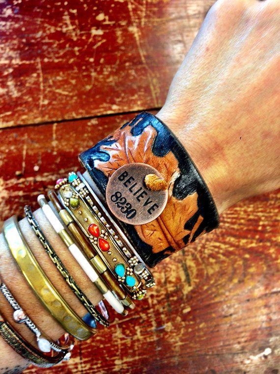 LEATHer Cuff Bracelet Bohemian Upcycled Vintage by ThreeBirdNest, $48.00