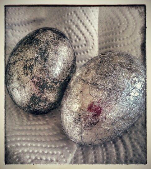 Tin foil decoupage eggs with black paint...