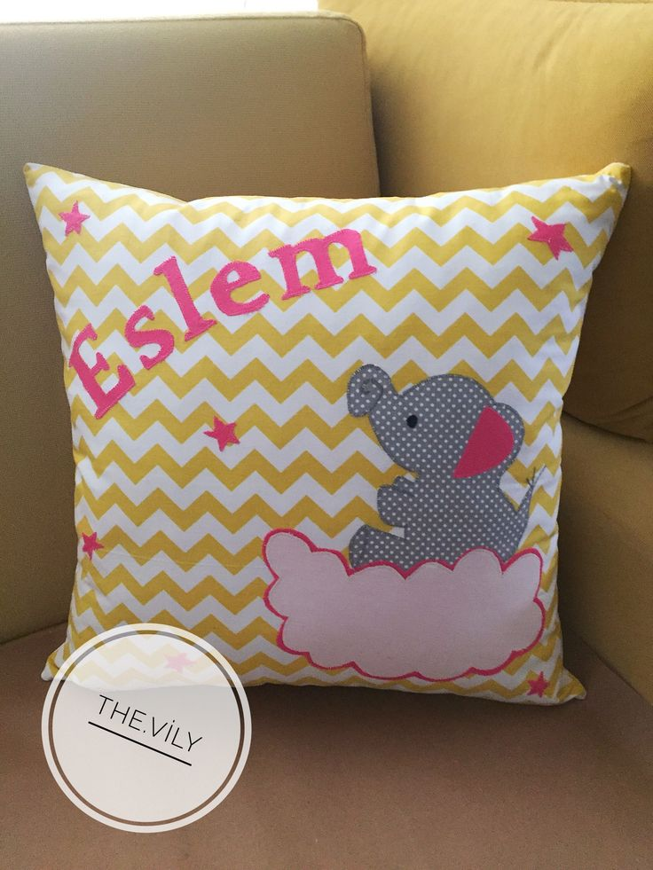 Elephant cute pillow applique