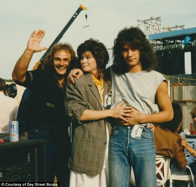 Sitcom star Valerie Bertinelli wanted to meet Ed Van Halen after seeing his photo on an album cover. They were married from 1981 to 2007 (pictured left to right:Michael Anthony,Valerie Bertinelli and Ed Van Halen)
