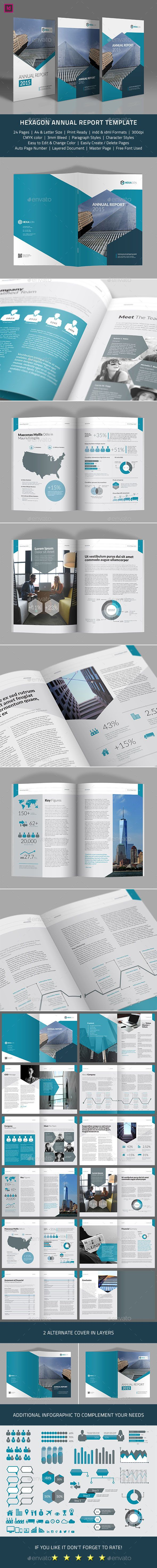 Hexagon Annual Report Template InDesign INDD #design Download: http://graphicriver.net/item/hexagon-annual-report-template/13836351?ref=ksioks