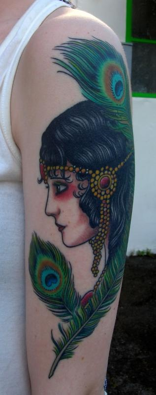Girl Head With Peacock Feathers Tattoo Picture Last Sparrow