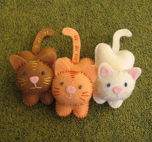 trio of felt kittens
