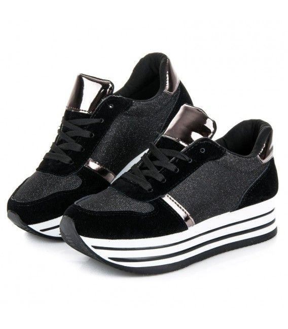 ef91337911 Čierne športové topánky na vyššej platforme