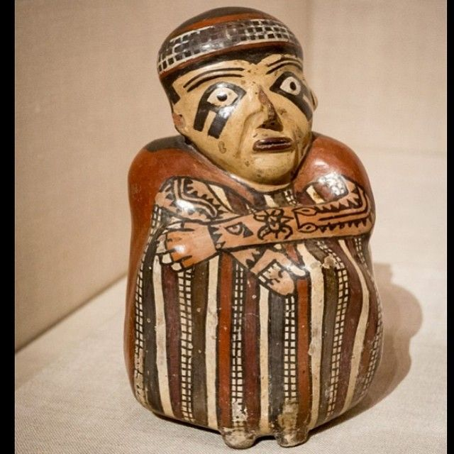 Nazca figurine, 180 BC - 500 AD, with probable tattooed arms (facial marks may be body paint or just a stylized artistic detail). From the Art Institute of Chicago's relatively new Americas installation. Visit tattoohistorian.com for more #tattoohistory!