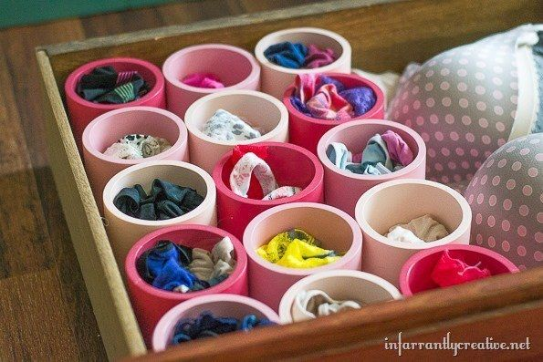 Paint PVC pipe to separate your underwear. | 33 Clever Ways To Organize All The Small Things