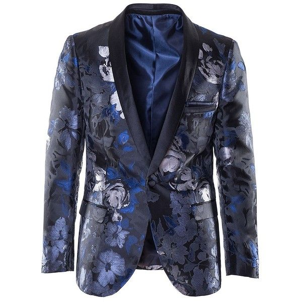 Paisley and Gray Men's Floral Satin Jacquard Blazer ($113) ❤ liked on Polyvore featuring men's fashion, men's clothing, men's sportcoats, blue, mens blazers, mens shawl collar blazer, mens gray blazer, mens slim blazer and mens floral print blazer