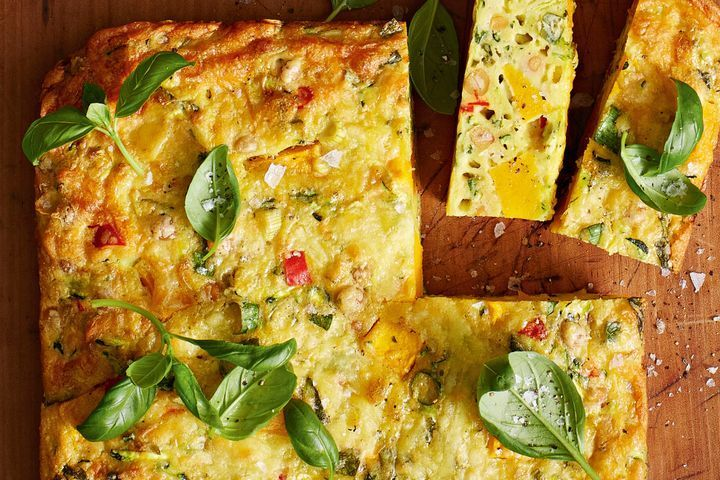 Pumpkin, chickpea and chilli zucchini slice