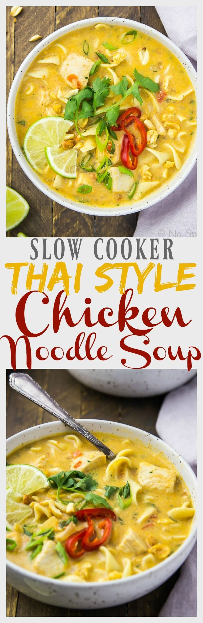 Slow Cooker Thai Style Chicken Noodle Soup.  Classic chicken noodle soup meets Thai chicken curry in this soup!
