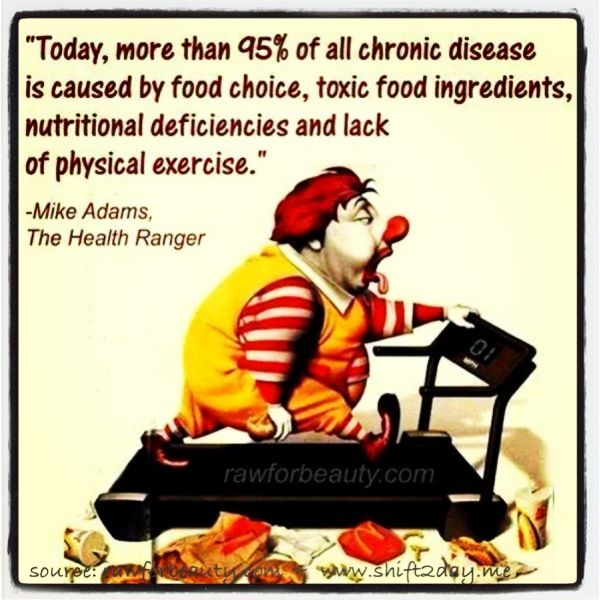 """Today more than 95% of all chronic disease is caused by food choice, toxic food ingredients, nutritional deficiencies and lack of physical exercise.""  ~ Mike Adams    ^ Look great, feel fabulous & great for your health  ^ Start the shift today ~ and feel great!  :)  www.shift2day.me"