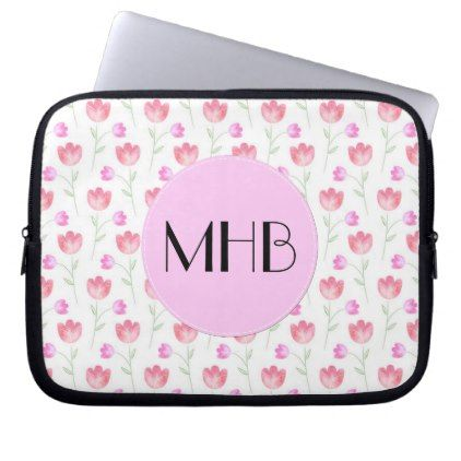 Monogram - Flowers Leaves Plant Stems - Pink Laptop Sleeve - floral style flower flowers stylish diy personalize