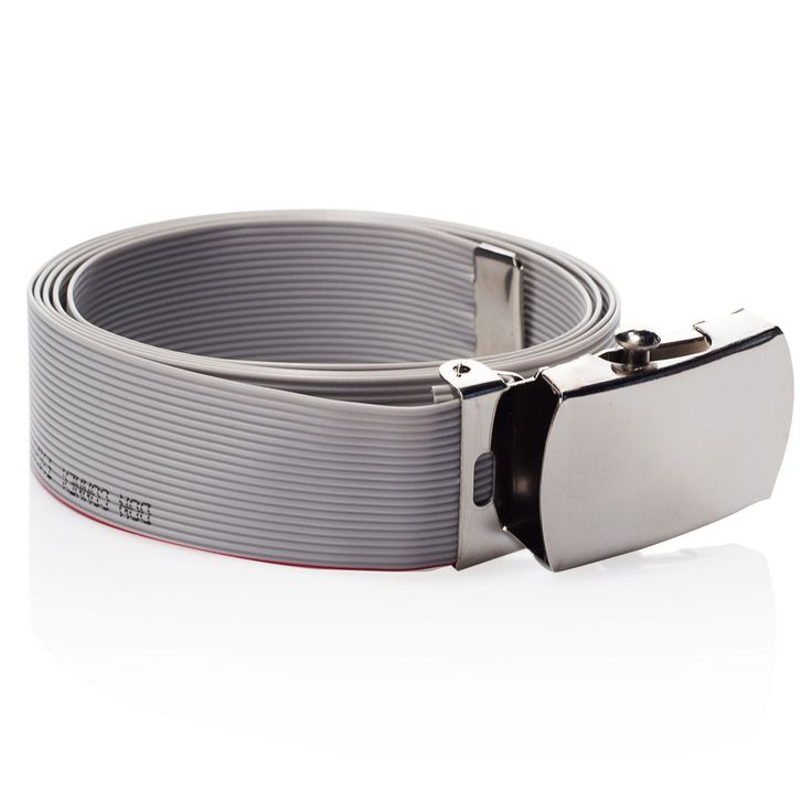 This belt is made out of a real ribbon cable as it is used for IDE cables in nearly all PCs.