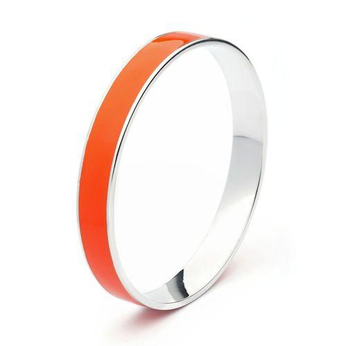 Hot Coral Orange Enamel Statement Candy Bangle