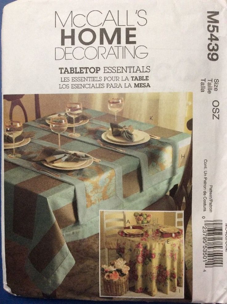 New McCalls Sewing Pattern M5439 Home Decor Place Mates Tablecloth Napkins  | EBay