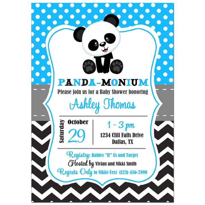 Panda Birthday or Baby Shower Invitation