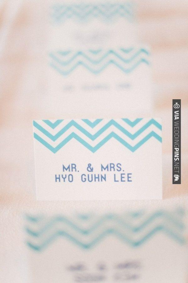 aqua chevron place cards | VIA #WEDDINGPINS.NET