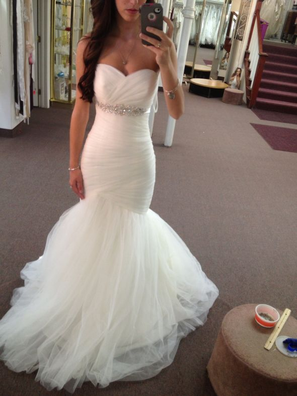 Belted Trumpet Wedding Dress