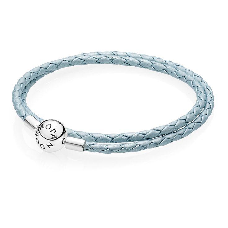 Pandora Armband hellblaues Leder, zweifach gewickelt 590734CBL