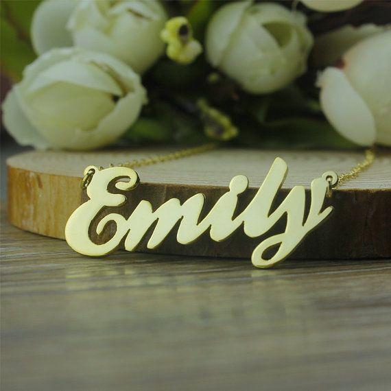 Collar dorado cursiva fuentes nombre collar de regalo navidad personalizada collar de oro placa de identificación del collar