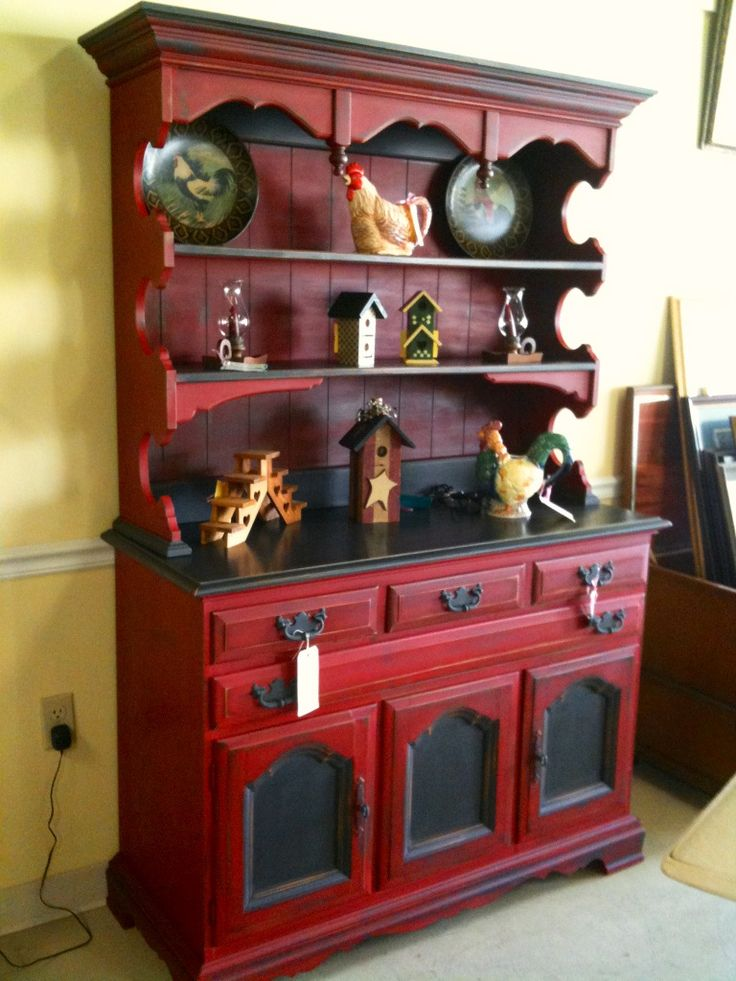 Emperor's Silk and Graphite Hutch done with Chalk Paint® decorative paint by Annie Sloan