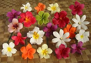 Hawaiian flower hair pins