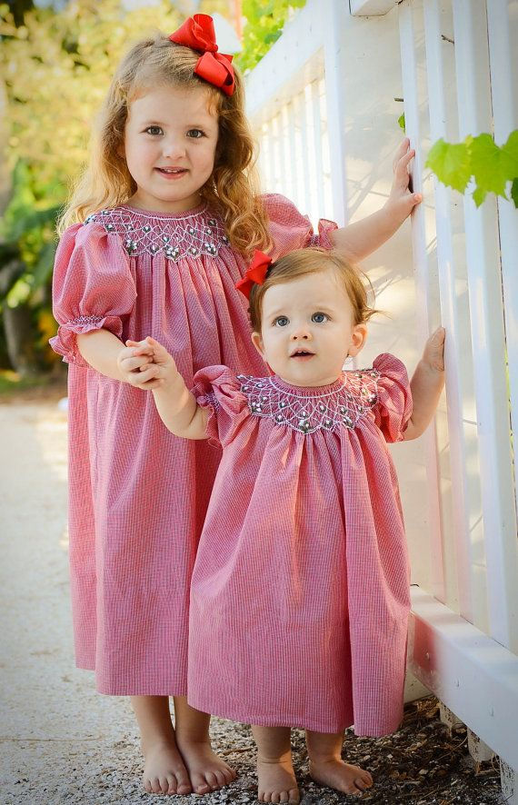 Smocked Bishop in Red Gingham Infant to Size 6 by GumdropGrove, $60.00