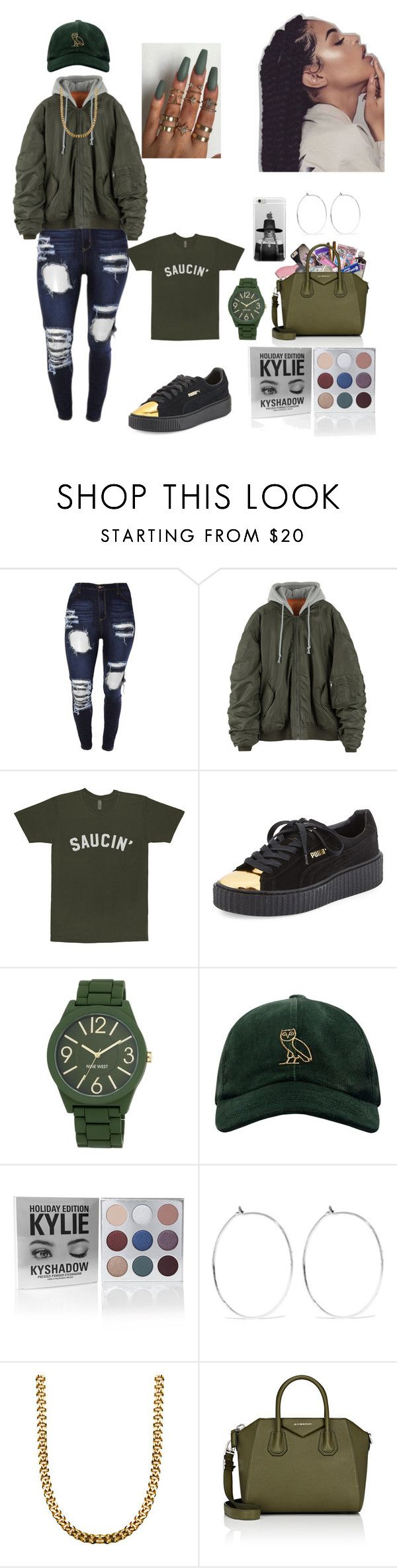 """you know I got the juice I got the sauce"" by sweetmagnolia87 ❤ liked on Polyvore featuring Clarion, Puma, Nine West, October's Very Own, Catbird and Givenchy"