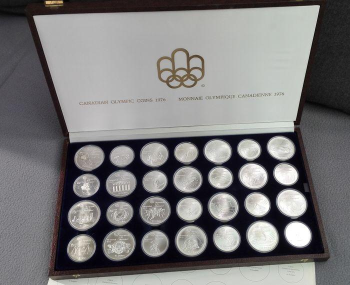 Canada - 5 en 10 dollar 1973/1976 ' Montreal Olympische (28 munten) in set - zilver  Het werd uitgebreid gepromoveerd zowel in Canada en in het buitenland als een herdenking van de Olympische spelen in Montreal in 1976 gehouden. De set was zeer populair bij de afgifte en vele duizenden sets werden vraatzuchtig besteld door het verzamelen publiek. De sets bestaat uit 28 munten 14 van $5 en 14 van $10 gerangschikt in 7-serie van 4 munten elk (2 x $5 en 2 x $10).Elke munt van deze set komt naar…