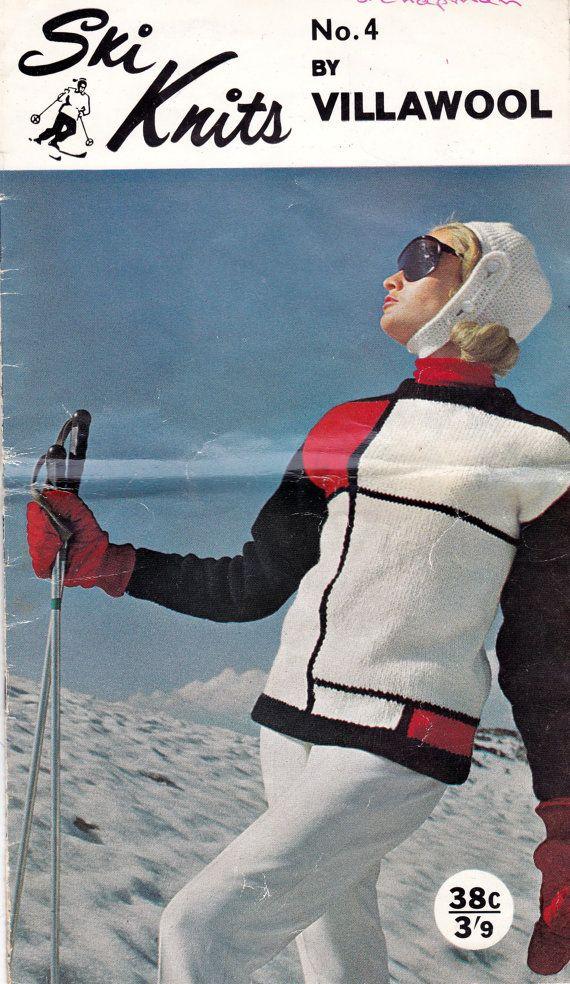 Mondrian au gogo - vintage ski knit pattern via allpreciousthings Etsy