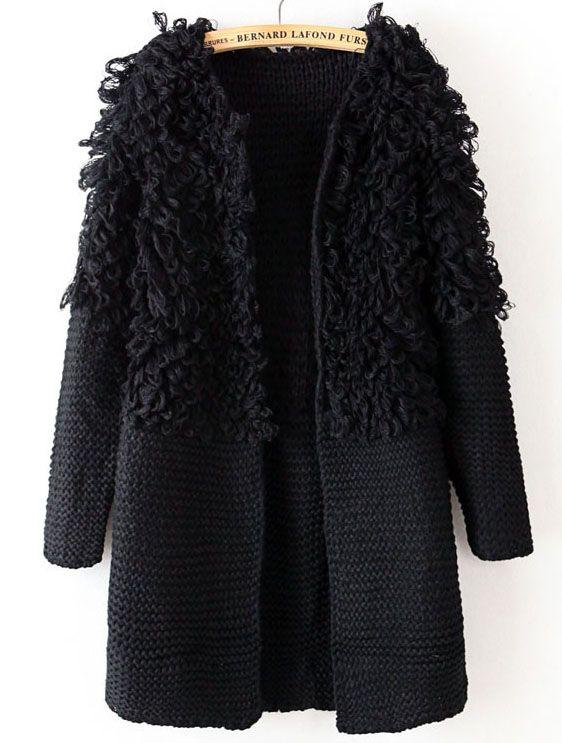 Black Long Sleeve Contrast Shaggy Sweater