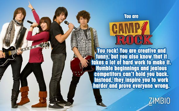 I'm Camp Rock. Which Disney Channel Original Movie are you?  - Quiz