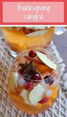 This #Thanksgiving sangria is made with seasonal fruit and bubbling Spanish cava.