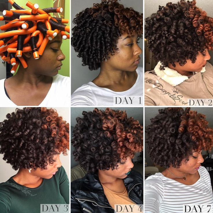 7 day flexi rod curls on natural hair Night routine Instagram: @DayeLaSoul