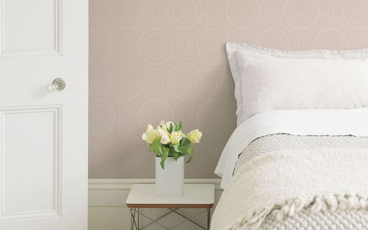 Delicate lace effect wallpaper in soft pink perfect for creating a stylish yet cosy bedroom. Boutique Collection- 17661