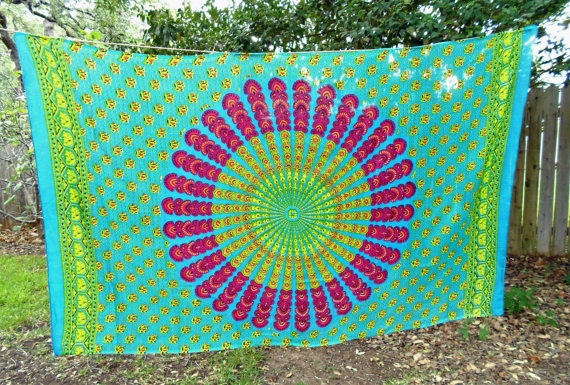 "Bohemian Hippie Tapestry Fabric Colorful Mandala Pattern - Blue. $19.00, via Etsy. .... ""headboard"" idea"