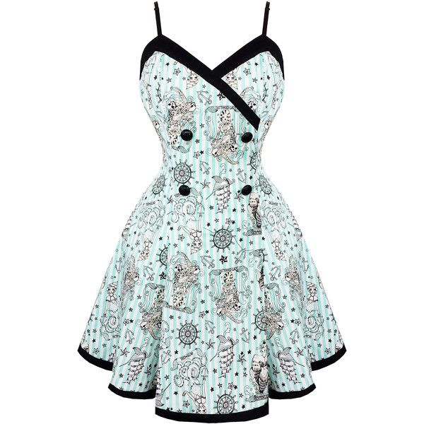 Voodoo Vixen Blue Nautical 1950s Mini Dress Dresses ($80) ❤ liked on Polyvore featuring dresses, vintage dresses, white cocktail dresses, short blue dresses, cocktail prom dress and short dresses