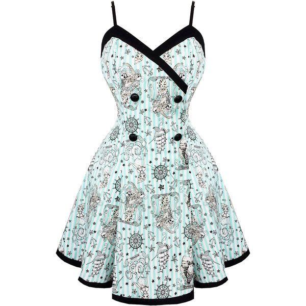 Voodoo Vixen Blue Nautical 1950s Mini Dress Dresses (250 BRL) ❤ liked on Polyvore featuring dresses, short blue dresses, prom dresses, white mini dress, vintage prom dresses and short dresses