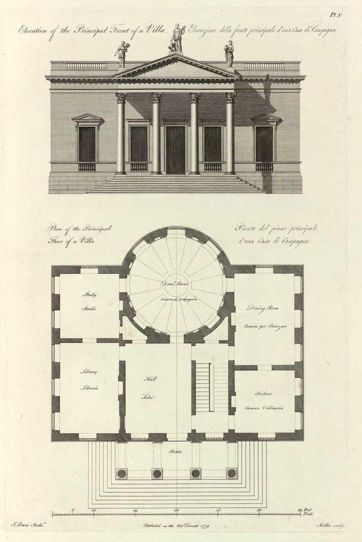 Elevation and plan for a villa