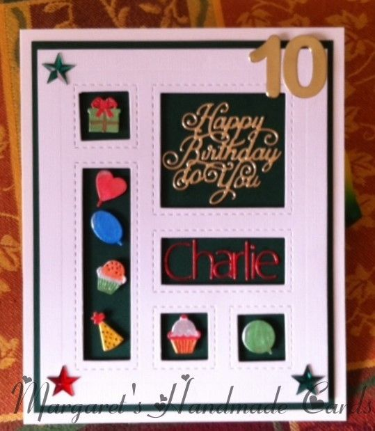 I used Cream and green card  on this Sue Wilson shadow Box card, I painted the little die cuts with metallic paints and die cut the 10 in gold mirri card, I also cut the Happy Birthday in gold and the name in red mirri card, added the stars to finish.