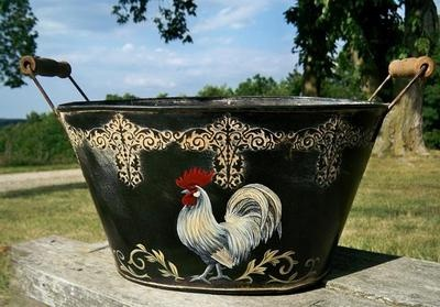 French Country Bucket Container HP Rooster Antiqued Black Metal Basket