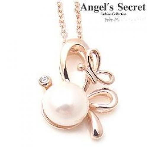 `Butterfly` Necklace With Pearl Gold - One Size