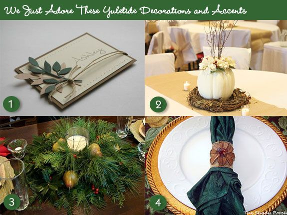 Rustic-style Christmas table accents #christmas #table #decorations