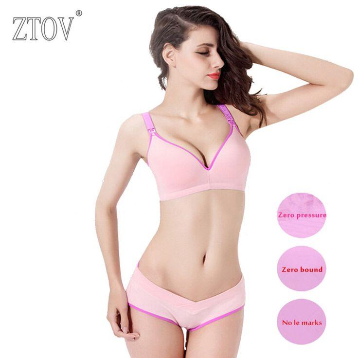 Cotton nursing bra+panties set wire free maternity underwear bra for pregnant women Breastfeeding Nurse Bras underwear clothes 1