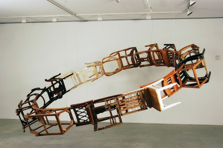 Wooden Chairs Suspended in a Infinite Loop - by Brooklyn-based artist Marc Andre Robinson - My Modern Metropolis