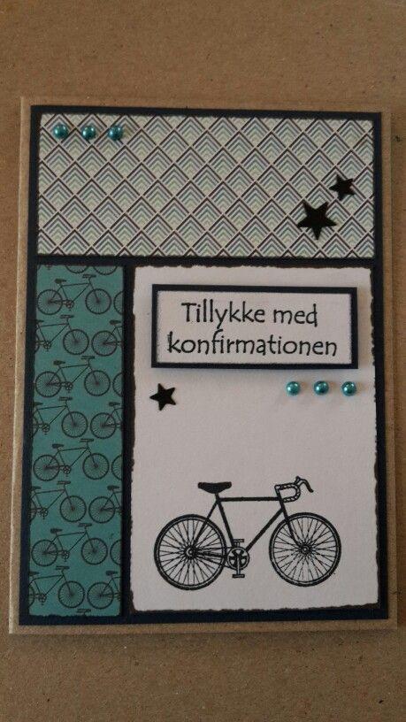 Konfirmationskort. Blå nuancer. Cykel. Dreng.