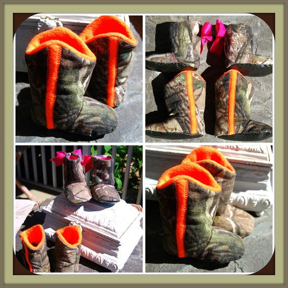 """Duck Dynasty inspired. Realtree Camo. Orange.  Baby Boots/booties faux. leather sole. """" cowboy """" Photo Prop"""". DRESS UP.redneck baby shower on Etsy, $22.50"""