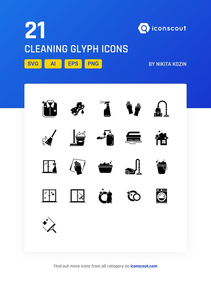 Cleaning Glyph  Icon Pack - 21 Solid Icons
