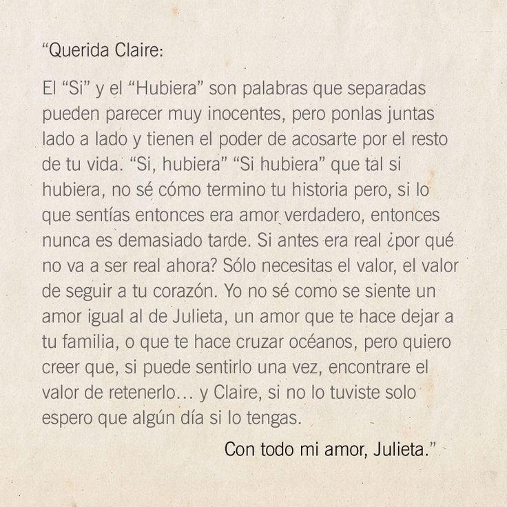 """Carta de Julieta a Claire, de la película """"Cartas a Julieta"""""""