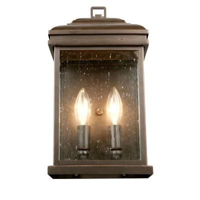 Hampton Bay 2 Light Outdoor Oil Rubbed Bronze Wall Lantern FFB1612A 3 The H